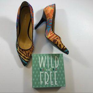 """Nine West Brightly Colored Animal Print 4"""" Heels"""
